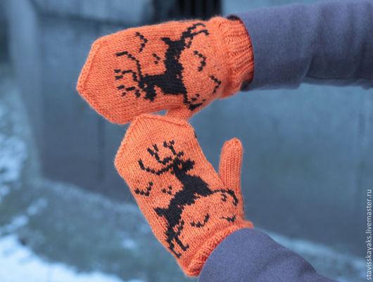 Варежки, митенки, перчатки ручной работы. Ярмарка Мастеров - ручная работа. Купить Варежки с использованием жаккардовых узоров. Handmade. Оранжевый