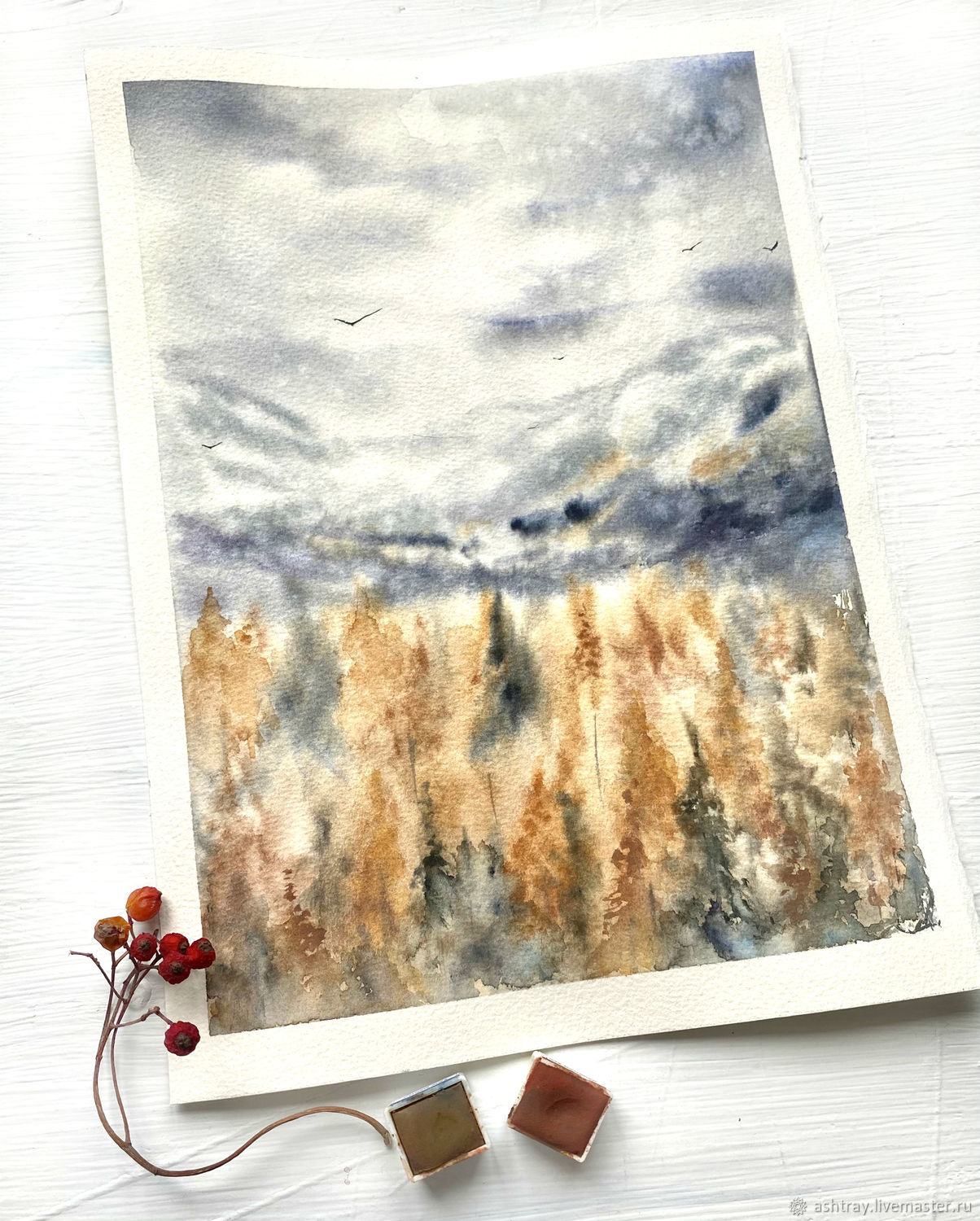 'Winter is just around the corner ' watercolor painting (landscape, mountains, forest), Pictures, Korsakov,  Фото №1