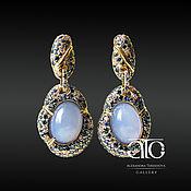 Украшения handmade. Livemaster - original item Gold earrings with lavender sapphires and chalcedonies. 585. Handmade.