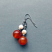 Украшения handmade. Livemaster - original item Earrings with natural stones, carnelian and perdamutr, jewelry steel. Handmade.