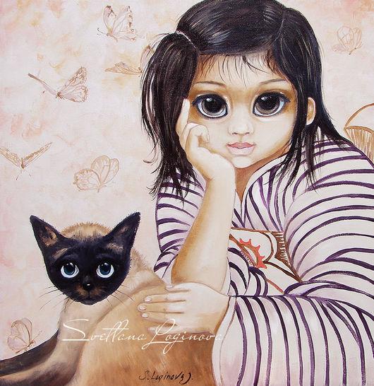 Животные ручной работы. Ярмарка Мастеров - ручная работа. Купить Леди в ожидании-картина маслом с кошкой. Handmade. Картина с кошкой