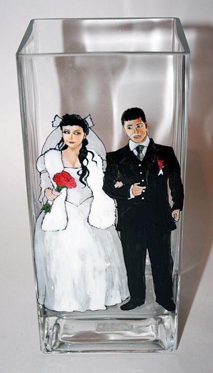 """Вазы ручной работы. Ярмарка Мастеров - ручная работа. Купить Ваза """"Молодожены"""". Handmade. Свадьба, краски"""