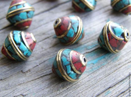 Для украшений ручной работы. Ярмарка Мастеров - ручная работа. Купить Бусины тибетские с бирюзой и кораллом БН41. Handmade.