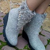 Обувь ручной работы. Ярмарка Мастеров - ручная работа Полусапожки  зимние на платформе Серебро. Handmade.