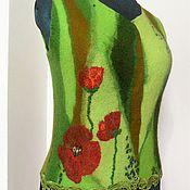 """Одежда ручной работы. Ярмарка Мастеров - ручная работа Валяный жилет """"Зеленая мозаика"""". Handmade."""