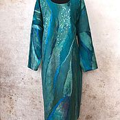 Одежда ручной работы. Ярмарка Мастеров - ручная работа Платье Изумруд валяное с длинными рукавами для фактурных девушек. Handmade.
