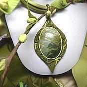 Колье ручной работы. Ярмарка Мастеров - ручная работа Колье из кожи с яшмой Зеленая весна. Handmade.