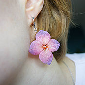Украшения handmade. Livemaster - original item Hydrangea earrings, polymer clay. Handmade.