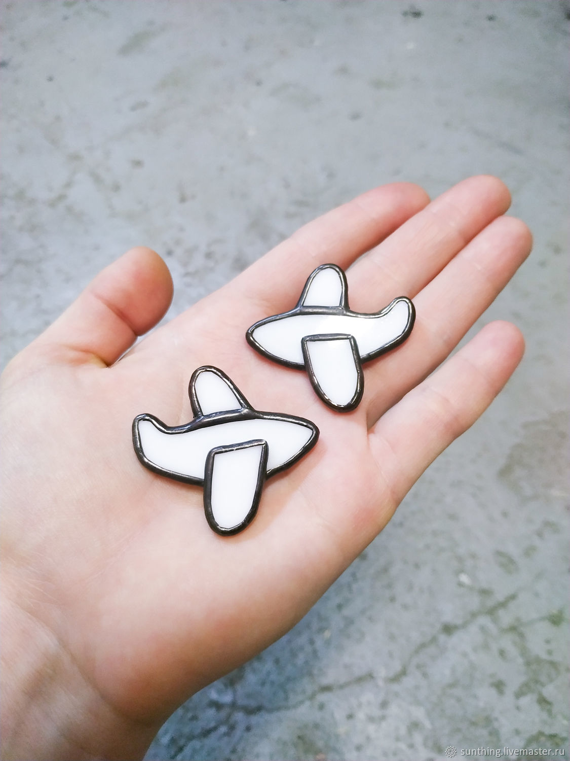 Brooch made of white glass 'Aircraft', Brooches, St. Petersburg,  Фото №1