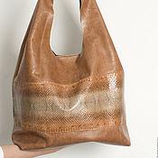 Мешок сумка из натуральной кожи рыжая коричневая
