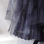 Одежда ручной работы. Ярмарка Мастеров - ручная работа Хлопковая нижняя  длинная юбка с оборками из сетки черного цвета. Handmade.