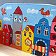 """Детская ручной работы. Полка """"Домики-3"""" (набор с контурами и красками) для детской. Мастерская №13. Ярмарка Мастеров. Полка, для игрушек"""