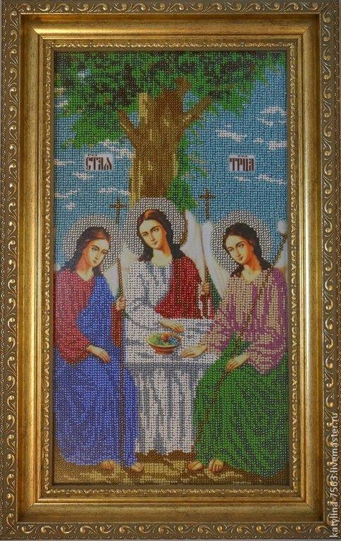 """Иконы ручной работы. Ярмарка Мастеров - ручная работа. Купить Икона """"Святая Троица"""". Handmade. Бирюзовый, икона вышитая бисером"""