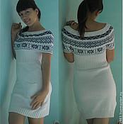Одежда ручной работы. Ярмарка Мастеров - ручная работа платье белое с жаккардовым узором. Handmade.