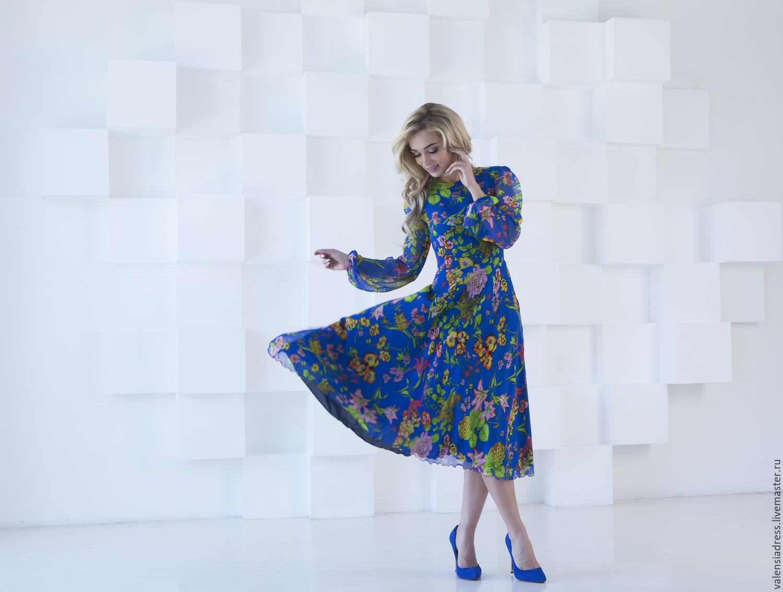 Летнее платье из шифона, синее цветочное платье, Платья, Санкт-Петербург,  Фото №1