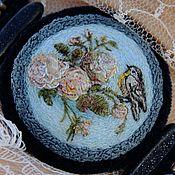 Украшения handmade. Livemaster - original item Bracelet embroidery silk Rococo. Blue, silk, velvet, roses, bird. Handmade.