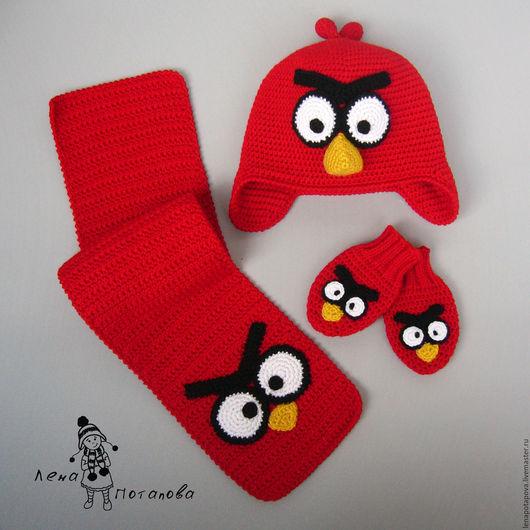 """Одежда унисекс ручной работы. Ярмарка Мастеров - ручная работа. Купить Шапка, шарф, варежки """"Angry Birds Red"""". Handmade."""