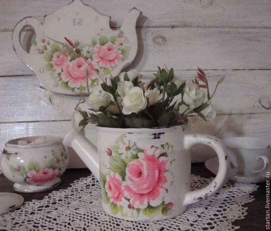 """Кухня ручной работы. Ярмарка Мастеров - ручная работа. Купить Набор  """"Пора пить чай"""". Handmade. Белый, вазочка лейка"""