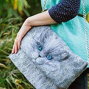 """Сумки и аксессуары ручной работы. Ярмарка Мастеров - ручная работа сумка валяная  """"Серый кот"""". Handmade."""