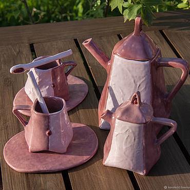 Посуда ручной работы. Ярмарка Мастеров - ручная работа Кофейный сервиз Клюква ручной работы. Handmade.