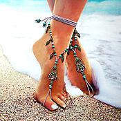 """Украшения ручной работы. Ярмарка Мастеров - ручная работа Украшения на ноги """"Нежность Востока"""", босые сандалии. Браслет на ногу. Handmade."""
