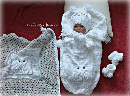 """Для новорожденных, ручной работы. Ярмарка Мастеров - ручная работа. Купить Комплект для новорожденного""""Совеныш"""". Handmade. Ручная работа, детский акрил"""