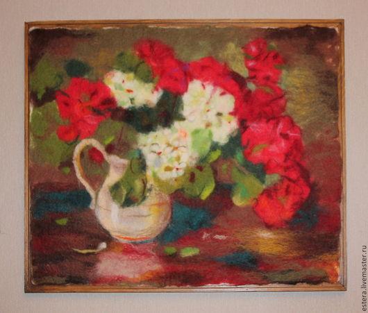 """Картины цветов ручной работы. Ярмарка Мастеров - ручная работа. Купить Картина """" Букет герани"""", войлок. Handmade."""