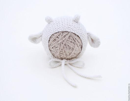 Для новорожденных, ручной работы. Ярмарка Мастеров - ручная работа. Купить Шапочка для фотосессии новорожденных Барашек белый. Handmade.