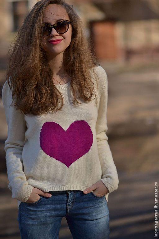 """Кофты и свитера ручной работы. Ярмарка Мастеров - ручная работа. Купить Джемпер """" Lovely Heart """" cashmere. Handmade."""