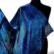 Аксессуары handmade. Livemaster - original item Copy of Copy of Copy of Shawl orange blue pearl luster jacquard pattern. Handmade.