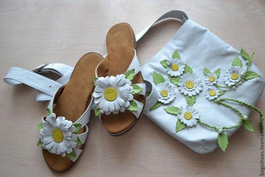 """Обувь ручной работы. Ярмарка Мастеров - ручная работа. Купить Кожаная обувь """"Ромашки"""". Handmade. Белый"""