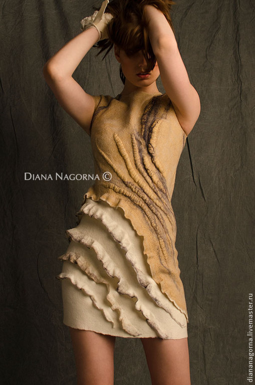 """Платья ручной работы. Ярмарка Мастеров - ручная работа. Купить Платье из мериносовой шерсти и шелка """" La vanilla"""". Handmade."""