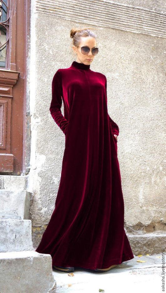 Бархатное платье в пол в бордовом цвете. Платье макс в пол. Платье из бархата,вечернее платье . Длинное,нарядное платье.