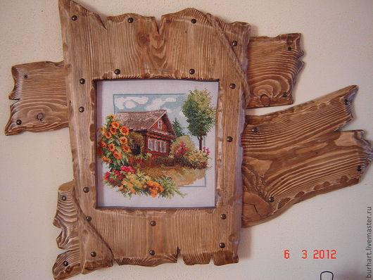 Пейзаж ручной работы. Ярмарка Мастеров - ручная работа. Купить домик в деревне. Handmade. Коричневый, панно на стену, Вышитая картина