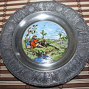 Винтаж handmade. Livemaster - original item Porcelain plate with a pastoral story in a tin socket, Germany. Handmade.