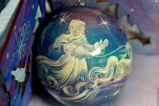 Подарок на новый год 2016. Оригинальные Новогодние подарки, рождественские подарки. Шар с авторской росписью. шар шкатулка. шар с сюрпризом.