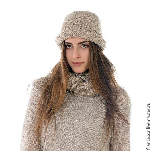 Шапочка Кашемировая Шляпка Клош  и шарф - De Luxe аксессуар. Дизайнерская одежда ручной работы. Cashmere Francesca.