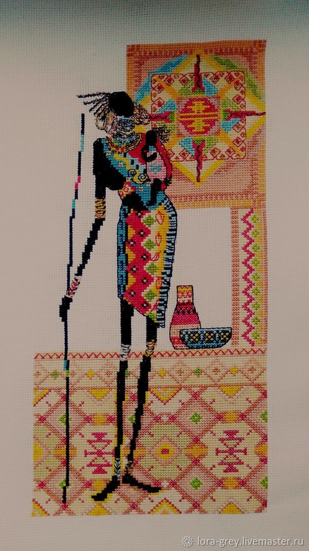 Этно ручной работы. Ярмарка Мастеров - ручная работа. Купить Картина вышитая крестиком Африка. Handmade. Вышивка крестом, подарок