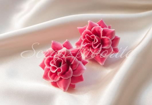 Открытки и скрапбукинг ручной работы. Ярмарка Мастеров - ручная работа. Купить Розы из ткани, 2 штуки.. Handmade. Брусничный, цветок
