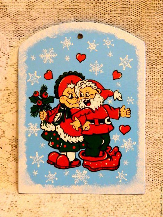 """Кухня ручной работы. Ярмарка Мастеров - ручная работа. Купить разделочная доска """"чудный Новый год"""". Handmade. Голубой, подарок"""