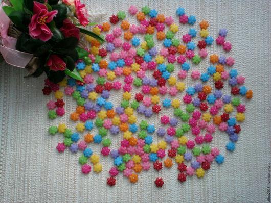 акриловые бусины Цветочки 10шт.микс