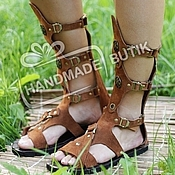 Обувь ручной работы handmade. Livemaster - original item gladiators of rome suede red without membrane. Handmade.