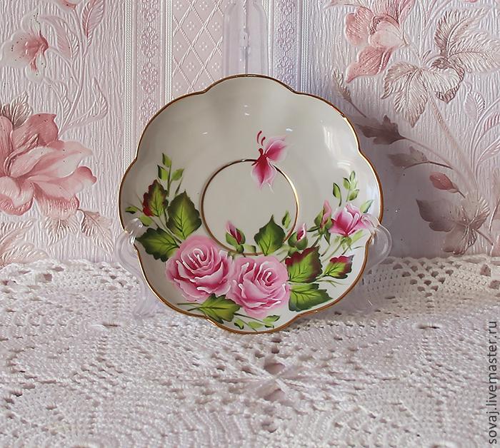 """Сервизы, чайные пары ручной работы. Ярмарка Мастеров - ручная работа. Купить Чайная пара с росписью """"Розовый сад """". Handmade."""