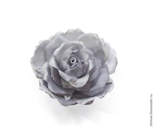Броши ручной работы. Ярмарка Мастеров - ручная работа. Купить Серая роза из креп-сатина и органзы. Цветы из ткани.. Handmade.
