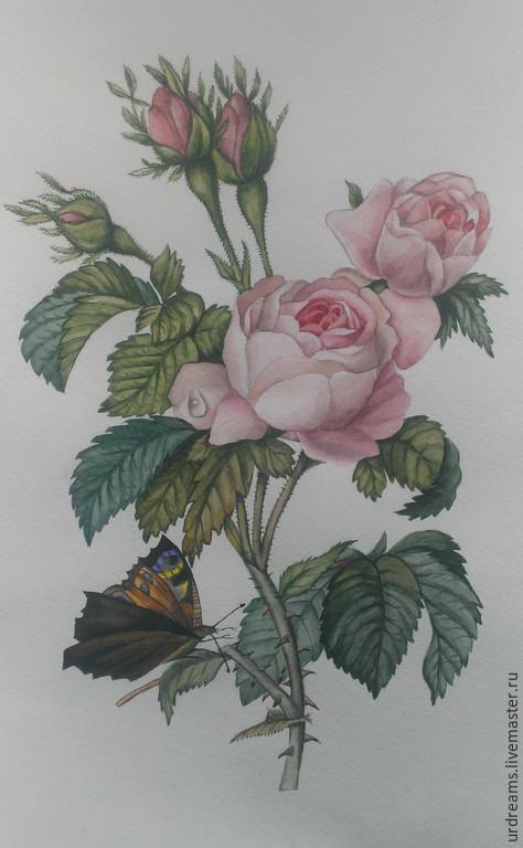 Картины цветов ручной работы. Ярмарка Мастеров - ручная работа. Купить Бабочка и роза. Handmade. Разноцветный, винтажный стиль