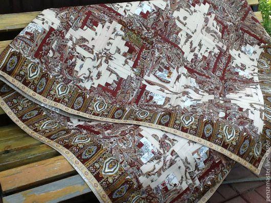 """Текстиль, ковры ручной работы. Ярмарка Мастеров - ручная работа. Купить Лоскутное покрывало из павлопосадских платков """"Крем-брюле"""" N2. Handmade."""