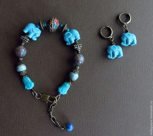 """Комплекты украшений ручной работы. Ярмарка Мастеров - ручная работа. Купить """"Голубые элефанты"""", комплект, этническое украшение. Handmade. слоны"""