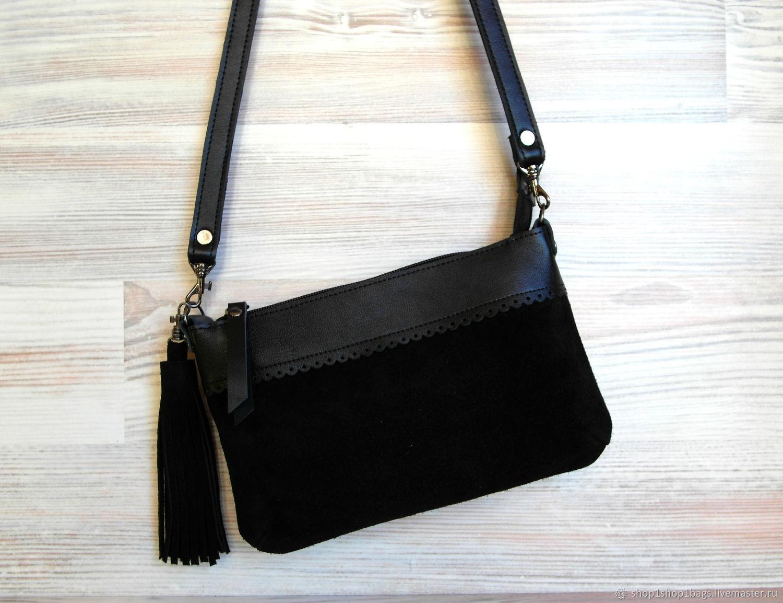5d580a20f2dc Женские сумки ручной работы. Ярмарка Мастеров - ручная работа. Купить  Кожаная черная сумка на ...
