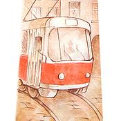 Аксессуары ручной работы. Ярмарка Мастеров - ручная работа Шелковый галстук с ручной росписью - Пражский трамвай. Handmade.