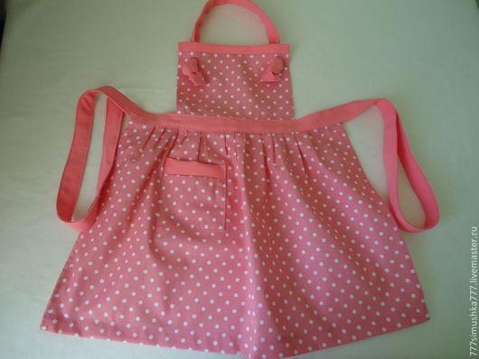 """Кухня ручной работы. Ярмарка Мастеров - ручная работа. Купить Фартук детский """"Горошек"""". Handmade. Розовый, фартук для кухни, для девочки"""
